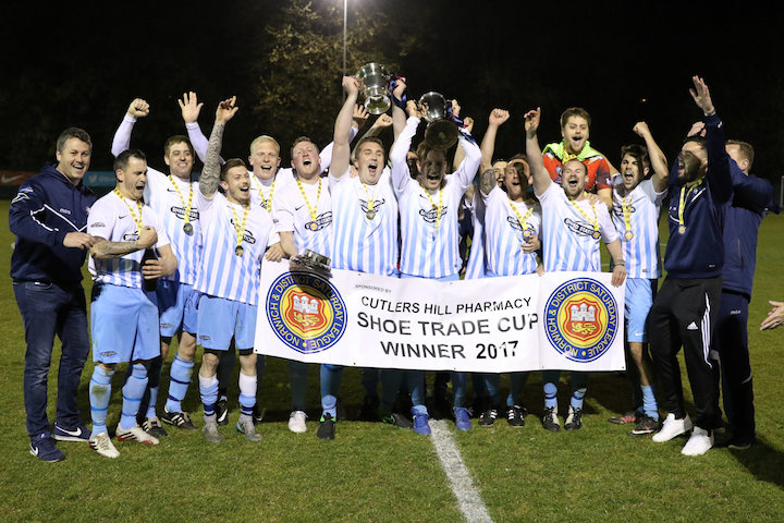 Dussindale Rovers celebrate holding the Shoe Trade Cup