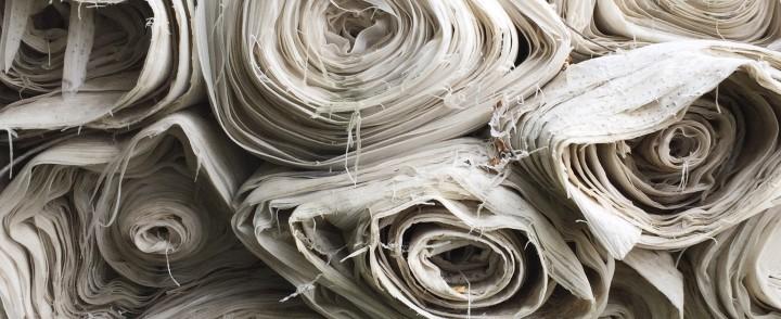 Image of rolls of white fabrics