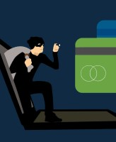 Cartoon image of burglar coming out of laptop screen on the lookout for bank cards