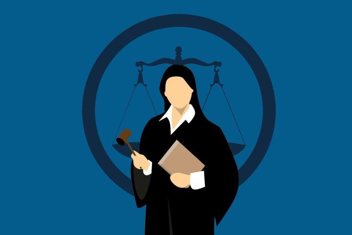 Cartoon image of judge with a gavel, standing in front of the scales of justice.