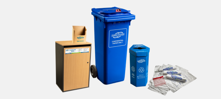 Image of Shred Station bins and consoles