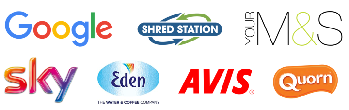 Image of logos of eco-friendly companies, including Google, Shred Station, M&S, sky, Eden water, AVIS and Quorn