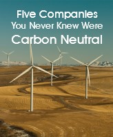 """Image of windfarm with the text """"five companies you never knew were carbon neutral"""" overlaid"""