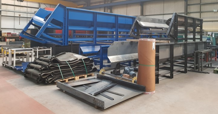 Image of shredding equipment laid out and ready to be built into an industrial shredding machine
