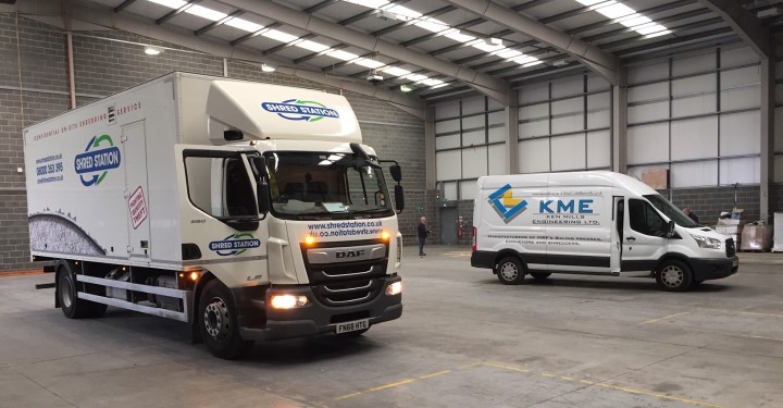 Image of shredding truck inside Shred Station's Manchester depot