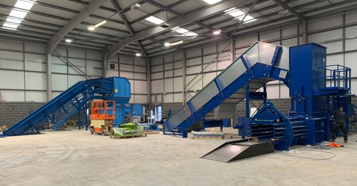 Image of shredding machine and paper baler