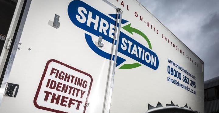 Shred Station branded truck side