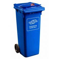 Confidential waste bin - 140 litre red dome lock