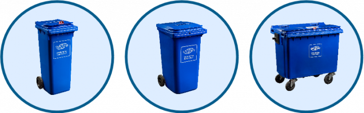 Image of different sizes of Shred Station's confidential waste bins