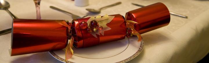 Image of Christmas cracker on set table