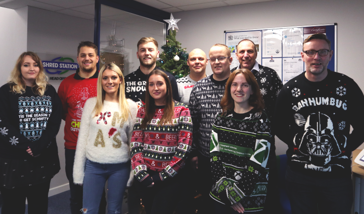 Shred Station staff take part in Christmas Jumper Day 2019 in aid of Break Charity,