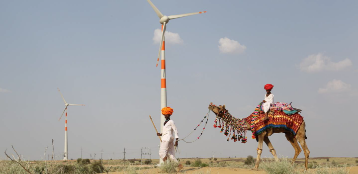 Image of camel being talked in front of a wind turbine in India