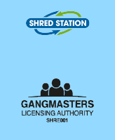 Shred Station logo and Gangmasters Licensing Authority logo.
