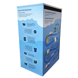 Custom wrapped large sack cabinet to securely store confidential materials for destruction - Custom wrapped - Shred Station