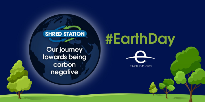 Image showing a planet earth, promoting earth day and Shred Station's journey towards being carbon negative.