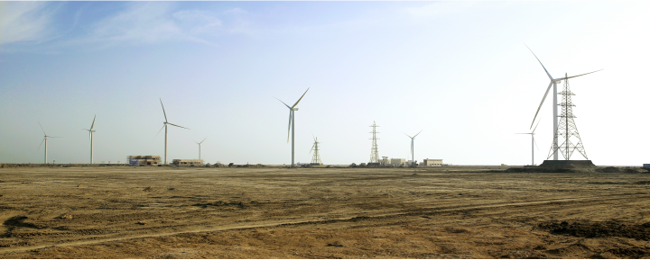 Photograph of the Sindh wind farm, part of the West India Wind Project.